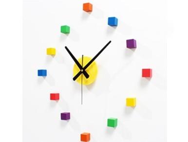 クリエイティブカラーボックス時計diyウッドウォールクロック三次元diy楽しい組み合わせのファッション腕時計