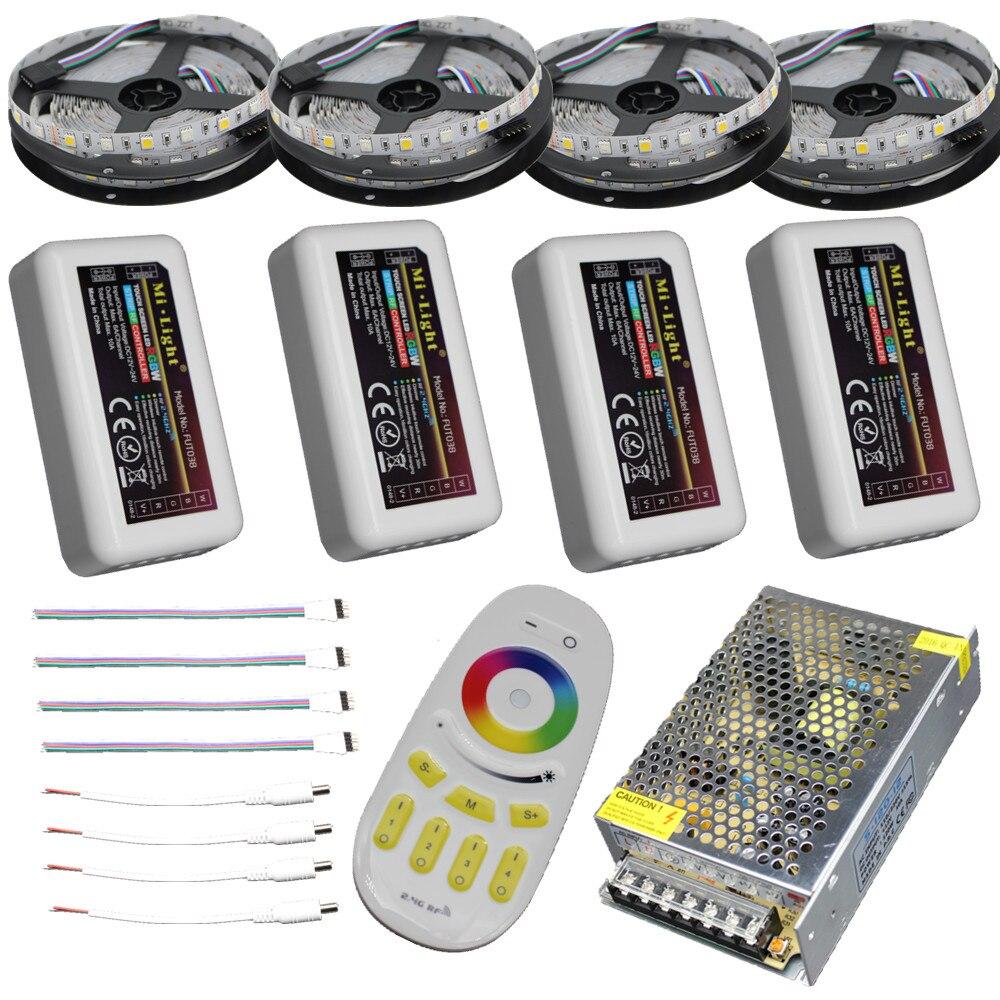 15m 20m 10m 5m RGBW tira de led RGBWW impermeable IP67/65/20/5050 la cinta 12V + controlador remoto + RF adaptador de corriente Kit