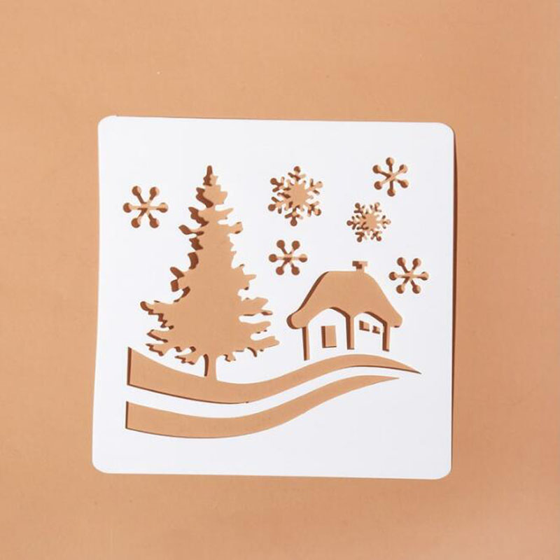 Christmas Stencil For Walls Painting Scrapbooking Stamp Album Decor DIY Xmas Tree Snowflake Paper Card Template Stencil Reusable