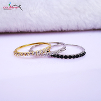 COLORFISH 925 Sterling Silver Thin Match Wedding Band Rings Women Fashion Jewelry Yellow Gold Filled Black Stone Stackable Ring