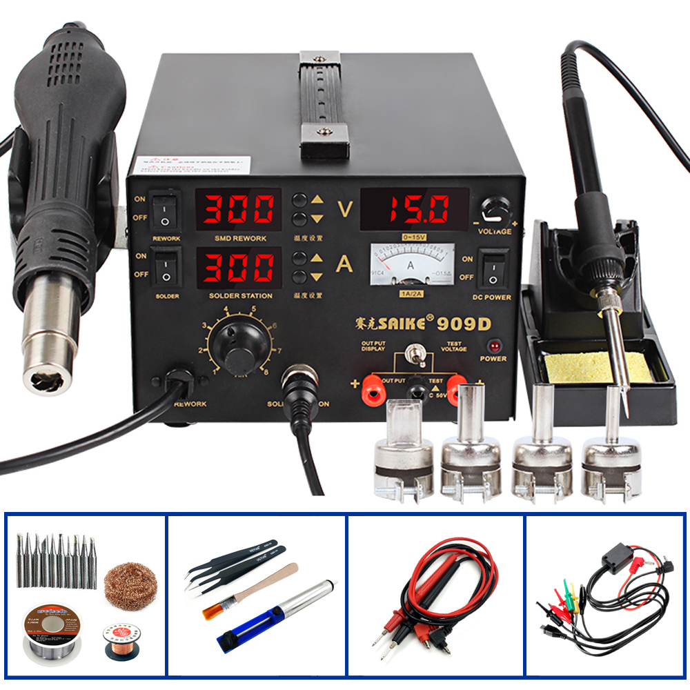 Saike 909D Heat Gun Desoldering Station Power Multi Function 3 in 1 Constant Temperature Soldering Iron