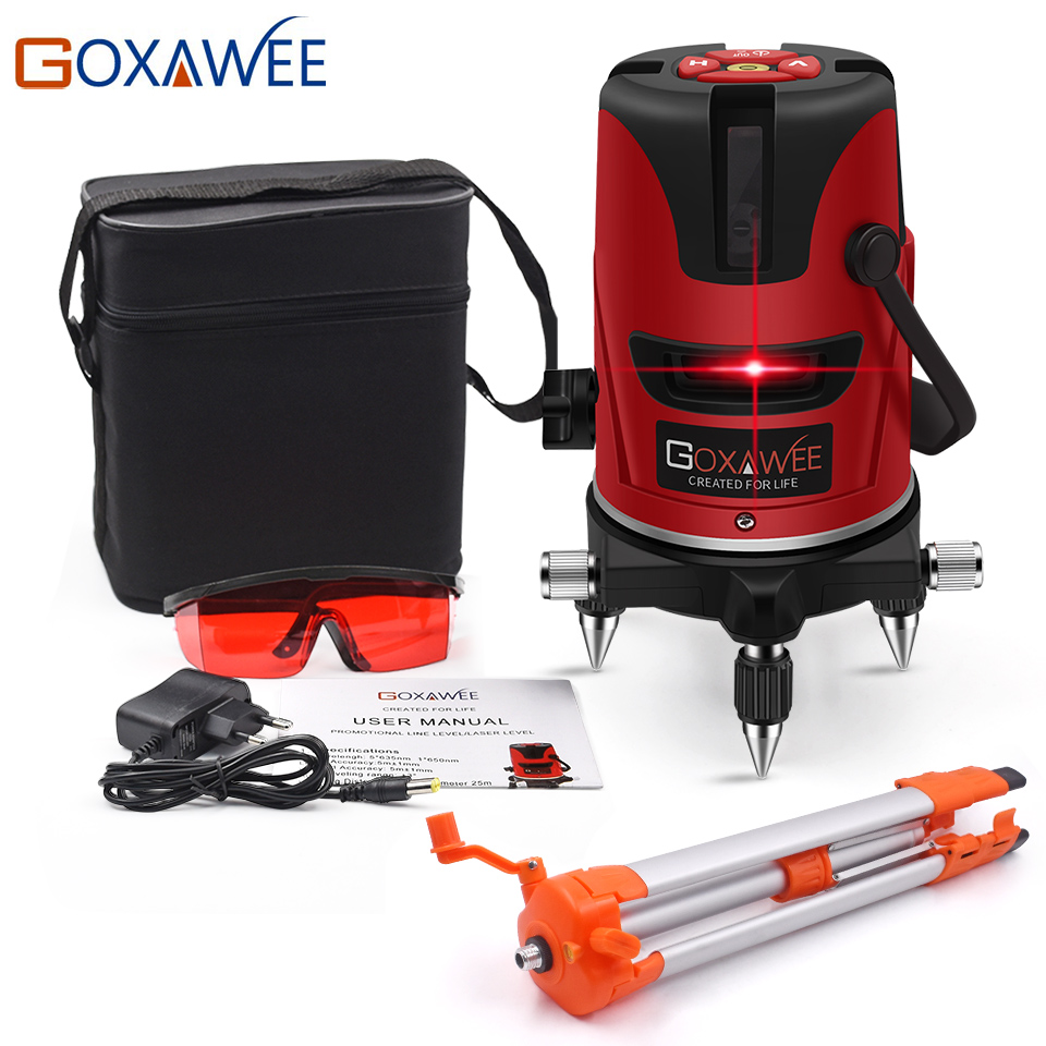 GOXAWEE 5 Laser Line 6 Points 360 Degree Laser Level Construction Building Tools Vertical Horizontal Rotary Cross 3D Laser Level kapro laser level laser angle meter investment line instrument 90 degree laser vertical scribe 20 meters