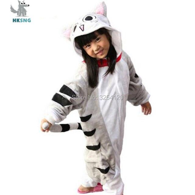 HKSNG новых животных дети Сыр Cat Kigurumi пижамы высокое качество фланель  мультфильм Семья вечерние Комбинезоны Костюмы 1ea502224fa32