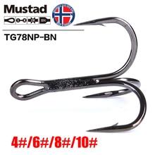 Mustad Norway Origin Fishing Hook Top Quality High Carbon Steel Treble Barbed Hook,4#6#8#10#,TG/TN78NP-BN