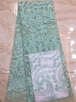 Wonderful French net material latest tulle mesh lace fabric with sequins for wedding/party dress PDN412(5yards/lot)