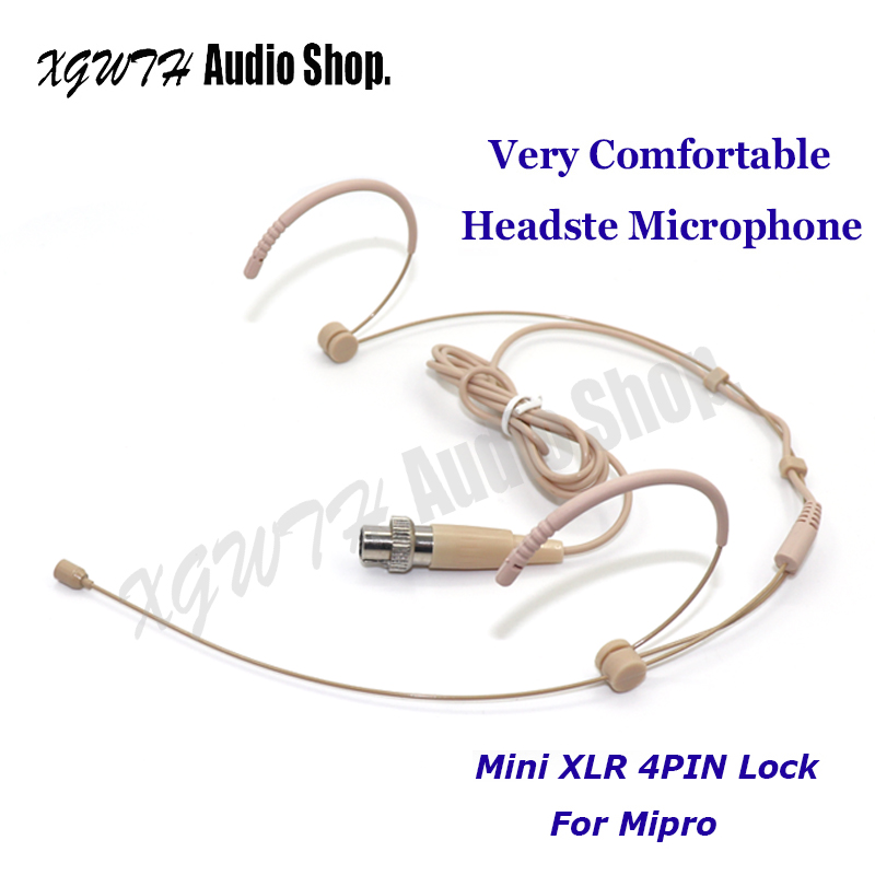 Microphones Just Mini Xlr 4 Pin 4pin Screw Locking Earset Head-mounted Mic Headset Microphone Mike For Mipro Wireless System Bodypack Transmitter