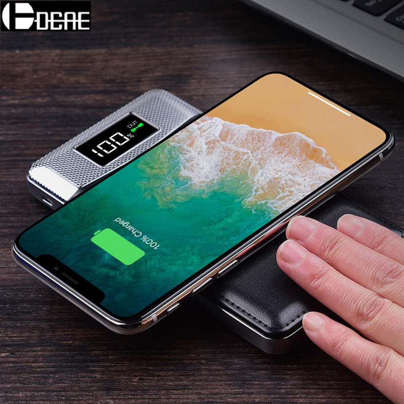 DCAE Qi Wireless Charger 10000mAh Portable 2 USB Power Bank Charging Pad for iPhone XS Max XR X 8 Samsung S9 S8 External Battery usb battery bank charger
