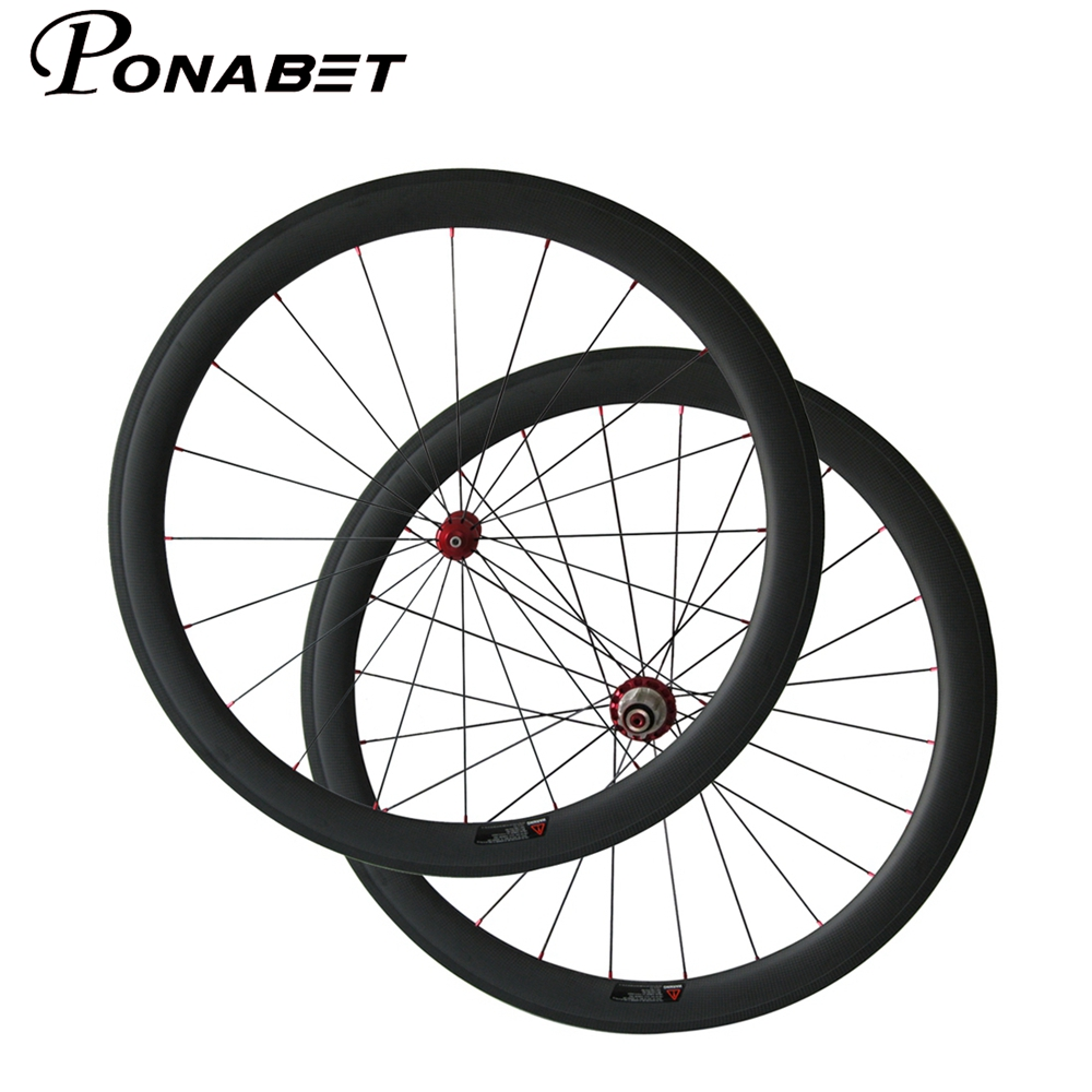 PONABET 23mm width super light Straight pull 50mm clincher bicycle wheels with powerway R36 carbon hub