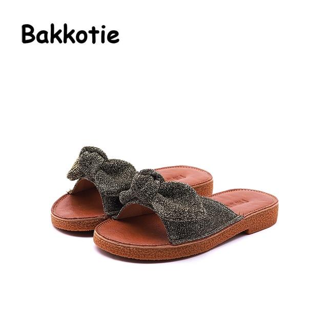 Bakkotie 2018 Summer Children Fashion New Mules Baby Girl Glitter Slipper  Toddler Bow Pu Leather Black Slip On Shoe Kid Princess 1bf7cbfad010