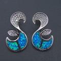100% 925 Sterling Silver Fine Jewelry Drop Earrings Jewelry Earrings with Blue Fire Opal For Women