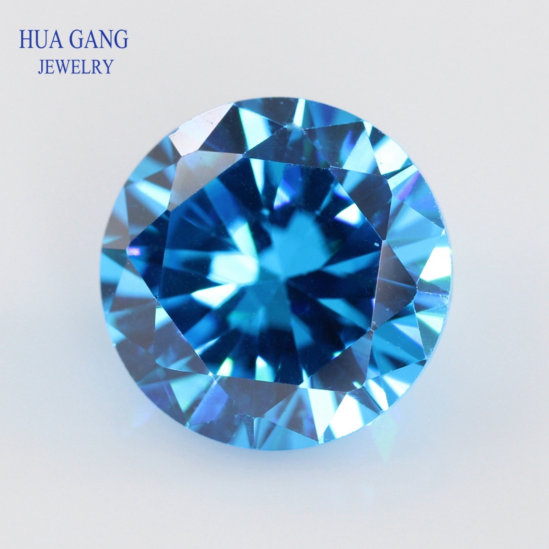 Sea Blue 0.8~15mm Cubic Zirconia Round Shape 5A Brilliant Cut Loose CZ Stone Synthetic Gems See Blue For Jewelry Free Shipping