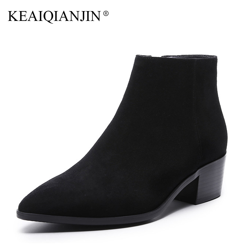 Фотография KEAIQIANJIN Woman Pointed Toe Ankle Boots Autumn Winter Black Brown Gray Sheepskin Shoes Zipper Genuine Leather Martin Boots