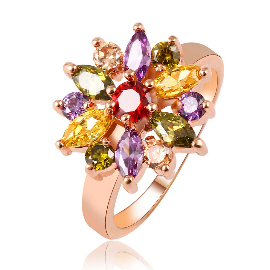 Classic Colorful igh quality Crystal Ring Quality Design Alloy Plated Gold Flower Zircon Rings For Women Fine Jewelry Best Gift