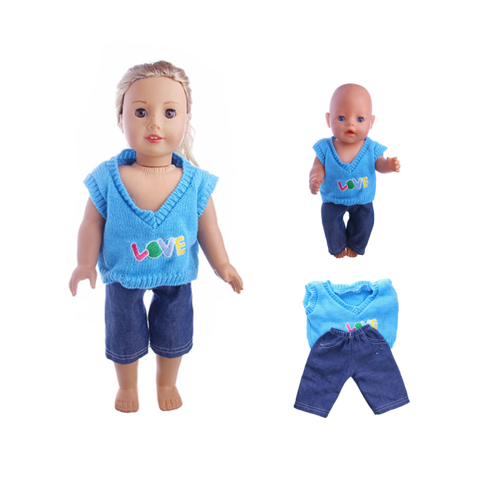 2colors Sweater LOVE pattern + jeans suit fit 18inch American Girl Doll& 43cm zapf baby born doll clothes accessories