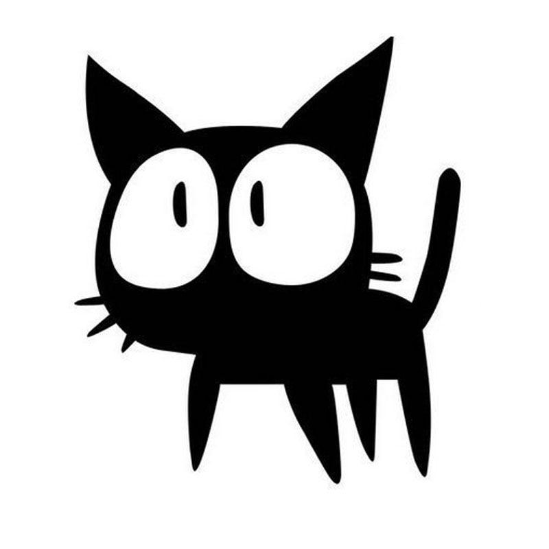 12*13.9CM Big Eyes Cat Cartoon Car Stickers Decals ...