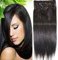 """# 1b natural preto frete grátis 16 """" - 32 """" 100% brasileiro remy grampos de cabelo em / sobre extensões de cabelo humano 10 Pcs conjunto de espessura"""
