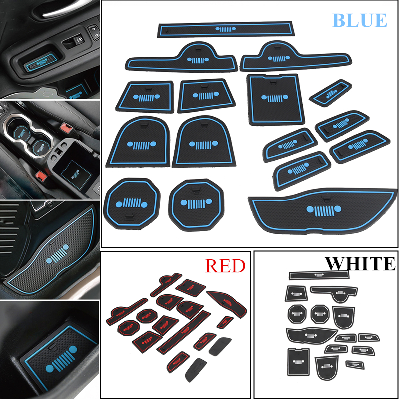 16PCS Car Styling Gate Slot Drink Holder Door Groove Mat Set For Jeep Renegade Rubber Anti-Slip Interior Stickers #CEK123 car interior accessories rubber auto luminous gate door pad anti slip cup holder mat cover cushion for 2015 honda odyssey