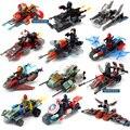 12 unids Vehículo marvel Juguetes militares Ladrillos de Construcción Bloques Juguetes superheroes spiderman coches Regalos