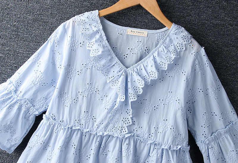 اليابانية موري فتاة الصيف التطريز قميص الإناث V طوق فضفاض القطن المرأة البلوزات قميص الكشكشة بلوزة قطع تونيك علوية حريمي معطف