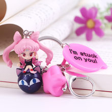 Cute Janpanese Anime Sailor Moon Keychain Black Cat Luna Doll Key Ring for Women Handbag Purse Backpack Charms Pendant Jewelry(China)
