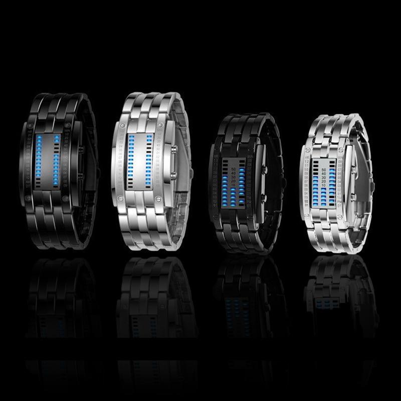 NEW Hot Led Displayer Sport Lumineux Montres Deluxe De Luxe LED Électronique Hommes Femmes Montres-bracelets En Acier Inoxydable Bleu Binaire