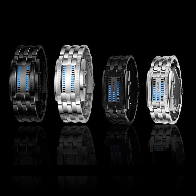 NEW Hot led Displayer Lumineux montre de sport de Luxe De Luxe led Électronique homme femme acier inoxydable Montres Bleu Binaire