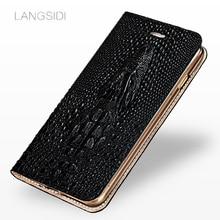 Marca wangcangli, carcasa para teléfono móvil, cabeza de cocodrilo, funda para iPhone X, Funda de cuero para teléfono, hecha a mano