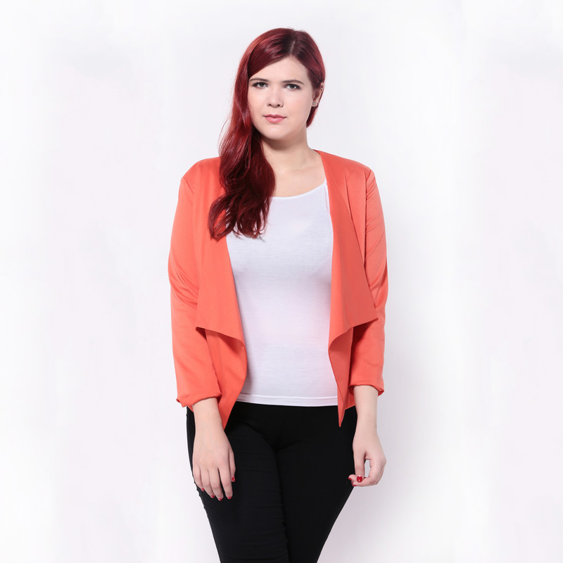 plus size western style fashion loose solid color long sleeve 3XL 6XL open  stitch large size woman s Casual jacket-in Basic Jackets from Women s  Clothing ... d36275ed3824
