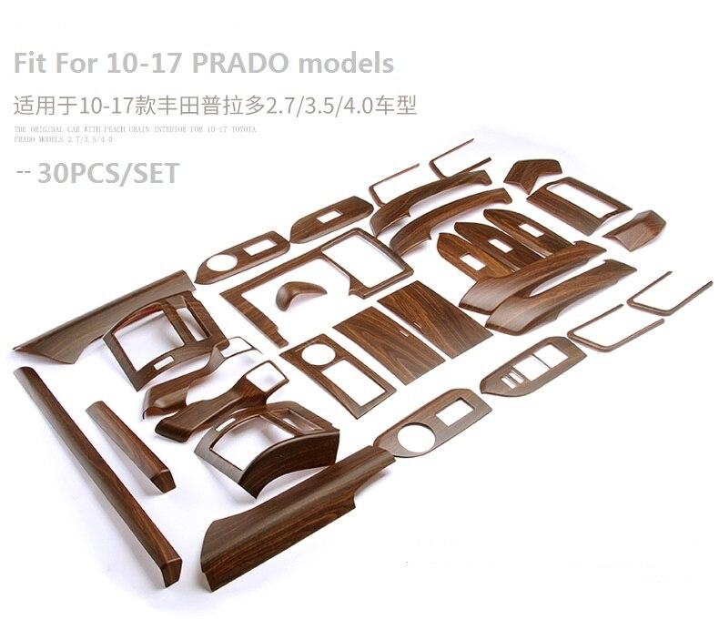 Car Interior Accessories Interior Moulding Trim for Toyota Land Cruiser 150 Prado LC150 FJ150 2010 2017 Mahogany color 30pcs