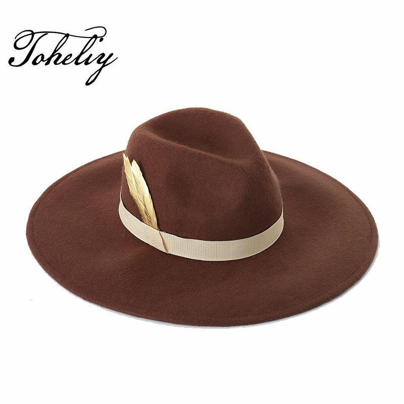 Otoño Invierno nuevos sombreros para las mujeres suaves amplia lana de  fieltro de ala Bowler Hat Fedora Floppy Cloche mujeres decoración de plumas  sombrero 54131e8fc72