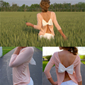 Fashion Women Solid 3/4 Sleeve Cutout Open Back Bow Fit T-Shirt Top