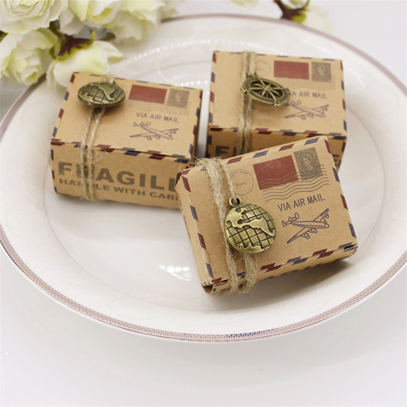 50Pcs Vintage Wedding Envelope Air Mail Kraft Paper Candy Box Rope Earth Compass Accessories Gift Packaging Christmas Supplies