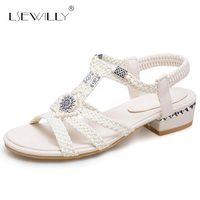 Lsewilly Low Heel Open Toe Summer Sandals Thick Heels Shoes Womens Sandals White Apricot Size 32 46 Beach Fashion 2018 New S078
