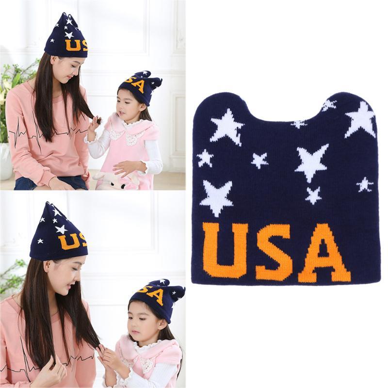 2018 New Arrival Winter Knitting Hat for Mom Kid Parent-child Horn Ear Caps Letter Print Hat
