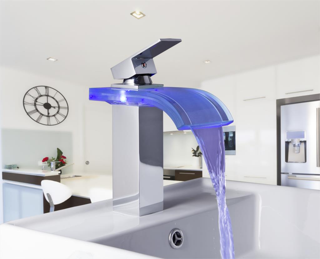 Awesome Basin Torneira LED Light Waterfall Bathroom Faucet Chrome Tap 88220 3/8  Single Handle Deck Mount Basin Sink Mixer Faucet In Basin Faucets From Home  ...
