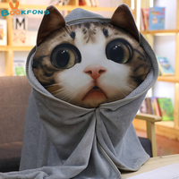 Simulation printing cat plush toys soft cat head pillow 3D printed cushion 3 in 1 kids blanket
