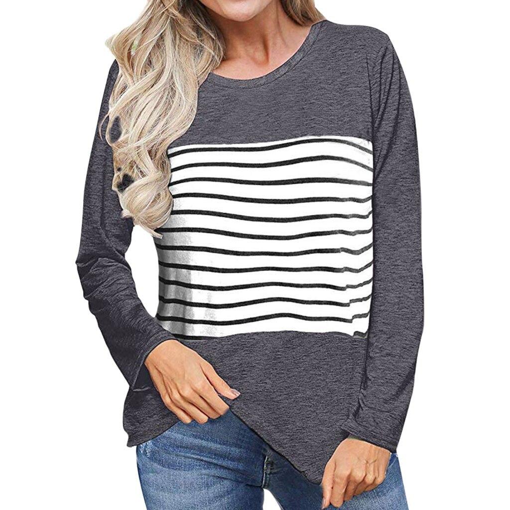 Hot sale winter t-shirt women color block stripe patchwork shirts tops tunic long sleeve