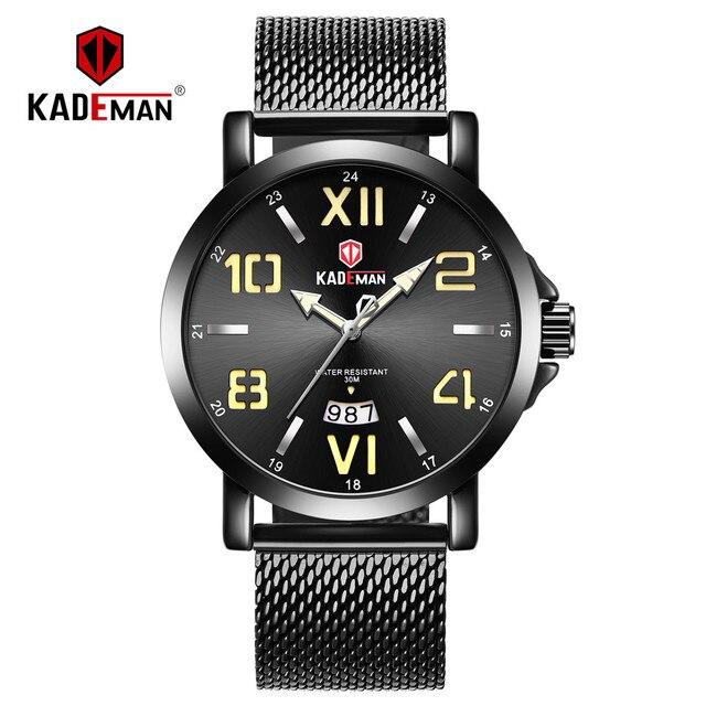 849f306530b4 2019 nuevo reloj de los hombres lujo oro negocios ocio hombre marca KADEMAN  completa acero impermeable Relogio Masculino. 2019 NEW Men Watch Luxury Gold  ...
