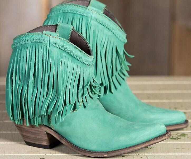 Ankle boots chunky heels round toe fringe design women western casual tassel shoes Autumn Winter boots brown blue red green women elegant dark green suede fringe block heels ankle boots comfortable chunky heel round toe back tassel short boots hot sell