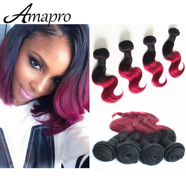 Amapro Hair Products Four Piece Burgundy Weave 10 Inch Short Bob