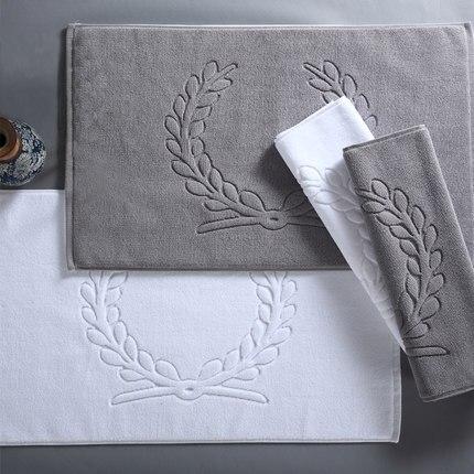 White Grey Cotton Hotel Home Flool Towel Bathroom Carpet Absorbent Non Slip Bath Mat