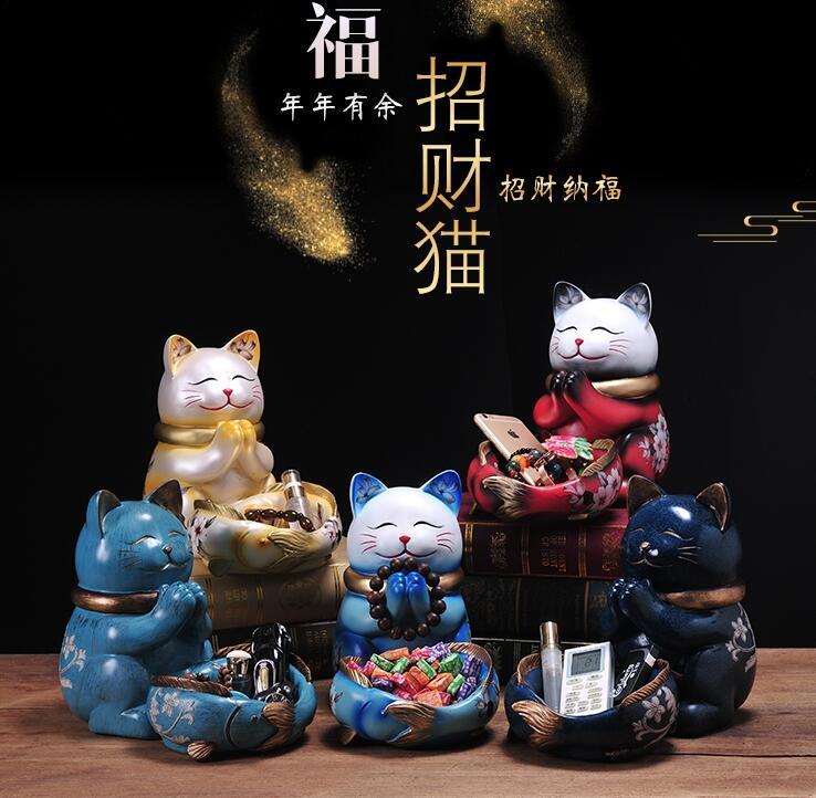 Céramique chanceux artisanat chambre Maneki Neko chat Figurines richesse ornements maison porcelaine animaux décoration accessoires décor à la maison