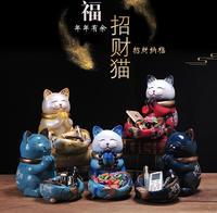 Ceramic Lucky crafts room Maneki Neko Cat Figurines Wealth Ornaments Home porcelain animal Decoration Accessories home decor