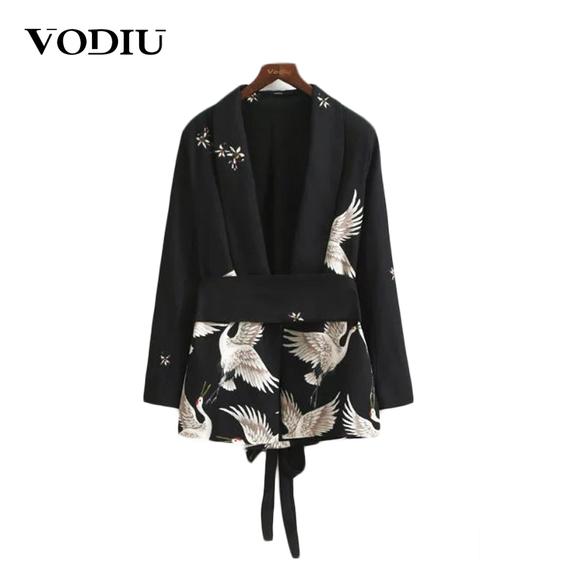 Autumn Notched Collar Women Cranes Vintage Black Blazer 2017 New Ladies Outwear Female Jackets Casual Sashes Coat Chinese Style