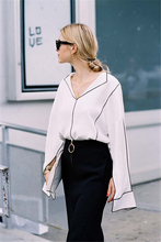 PADEGAO Street Style Black edged Pure white V-neck long sleeved Ladies shirt 2017 Fashion blogger recommend Casual summer blouse