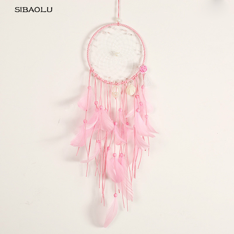 dream catchers Long tassel shell and pink Feather Dream catcher Girls Boys DreamCatcher Wall Hanging Decor Crib Baby nursery