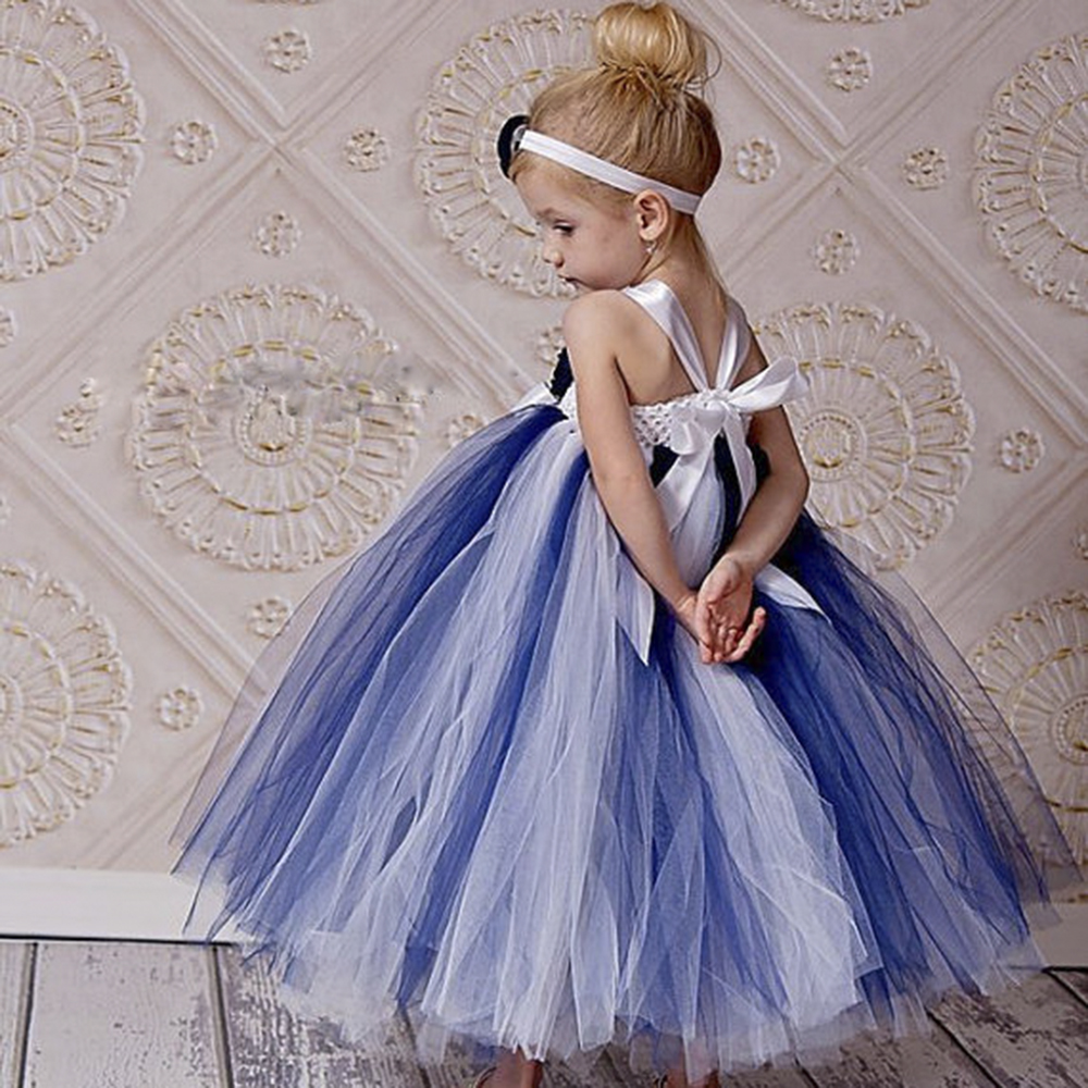 New Arrival Navy Blue And White Flower Girl Dress With Flower