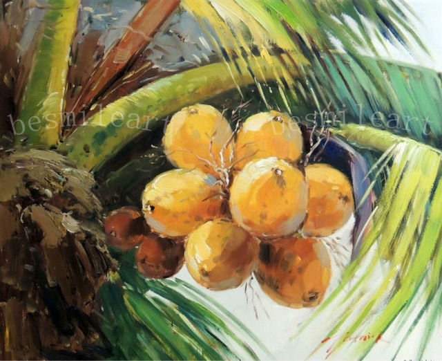 handpainted oil painting on canvas reproduction coconut palm tree