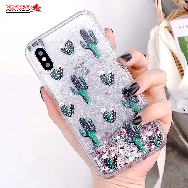 Bling Glitter Dynamic cactus pineapple Liquid Quicksand Phone Back For iPhone  7 Case For iPhone 7 8 X 6 S 6S Plus XS Max XR Capa ae38f0827ef3