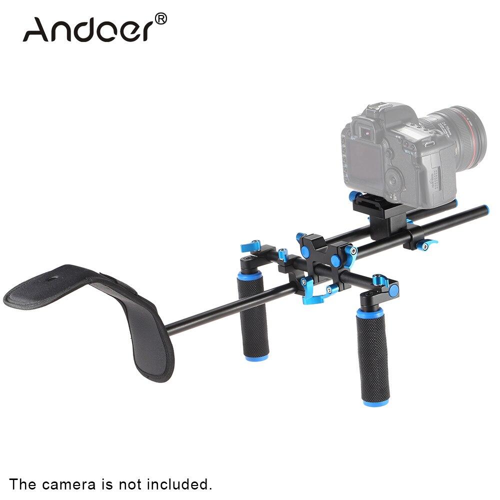 Andoer Aluminum Video Shoulder Mount Stablizer Support Rig with Slider 15mmRod Double hand Handgrip Set C